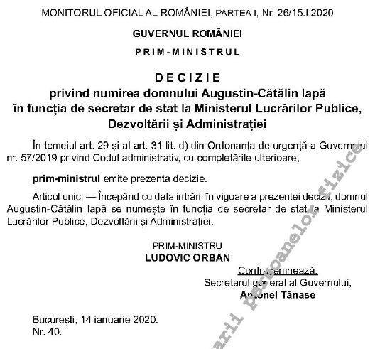Decizia numirii lui Cătălin Iapă în funcția de secretar de stat la Ministerul Dezvoltării