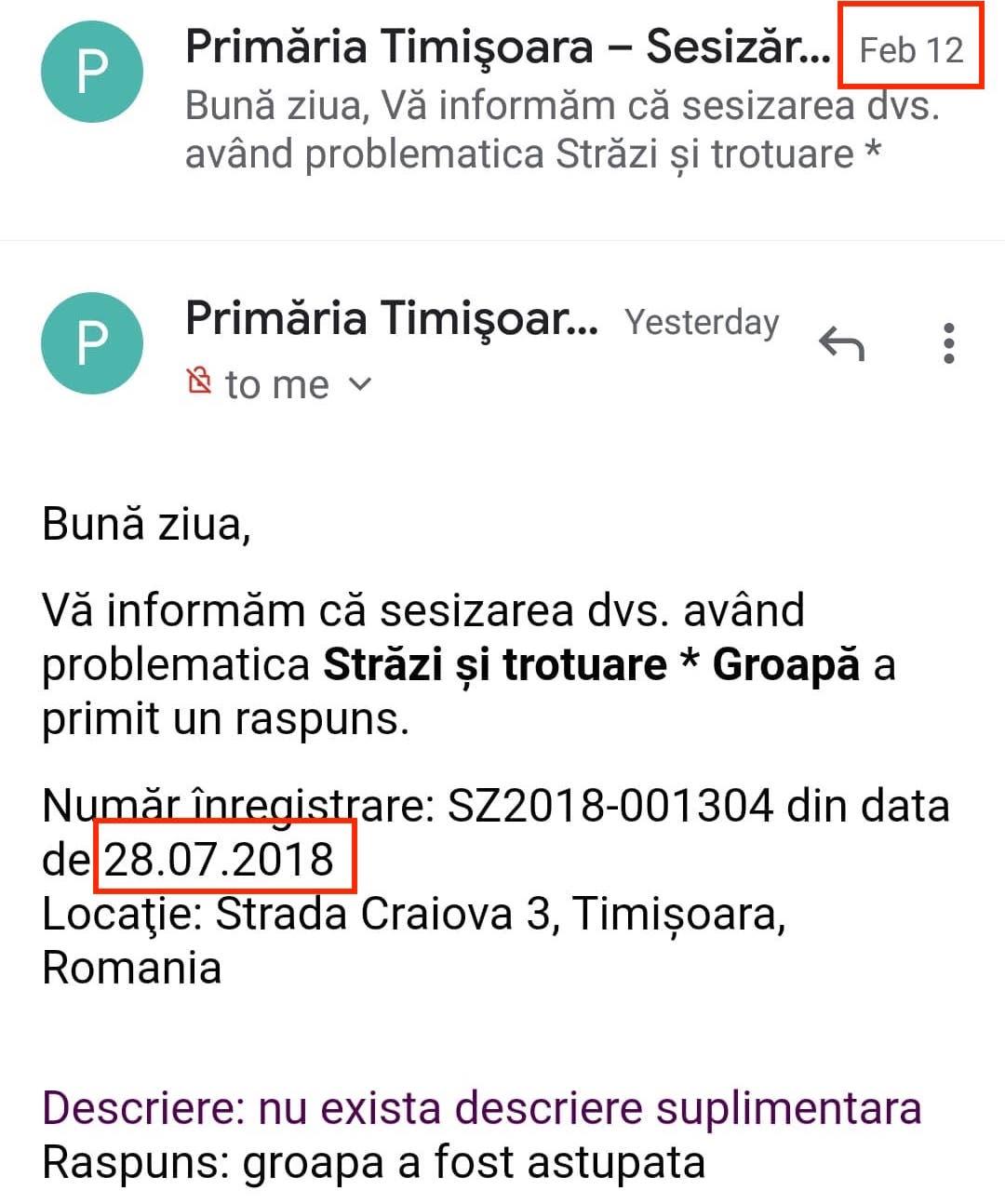 Primăria Timișoara răspunde în 2020 la sesizări făcute în 2018